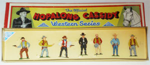 Timpo boxed Hopalong Cassidy set, one of only two or three known, $5,040. Old Toy Soldier Auctions image.
