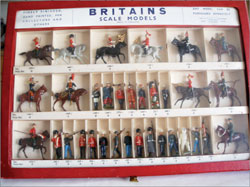 Britains picture pack counter display box containing 33 figures, hinged front cover, $6,000. Old Toy Soldier Auctions image.
