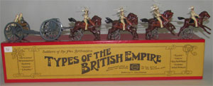 William Hocker 11-piece boxed set, Bengal Horse Artillery in Action, $270. Old Toy Soldier Auctions image.