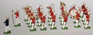 Britains set #2112, U.S. Marine band in summer dress, 25 pieces, $1,320. Old Toy Soldier Auctions image.