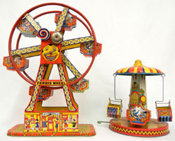 Colorful Chein tinplate mechanical toys. Stephenson's Auction image.