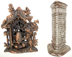 Among the 20-30 still banks to be auctioned are a Bear with Beehive and Flatiron Building. Stephenson's Auction image.
