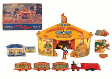 Lionel Disney Mickey Mouse Circus Train, tin wind-up with all accessories, tent and original box, est. $4,000-$8,000. Morphy Auctions image.