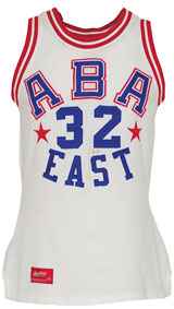"1974 Julius ""Dr. J"" Erving ABA Eastern Conference All-Star game-used uniform, $132,000. Grey Flannel Auctions image."