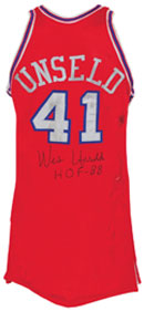 1971 Wes Unseld Eastern Conference All-Star game-used and autographed uniform, $60,000. Grey Flannel Auctions image.