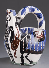 Pablo Picasso (Spanish, 1881-1973) glazed earthenware pitcher, 'Cavalier and Horse,' circa 1952, est. $4,000-$6,000. Quinn's Auction Galleries image.