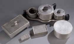 A Sept. 7 session dedicated to American and Continental pewter includes this selection of boxes estimated at $200-$300 the lot. Quinn's Auction Galleries image.