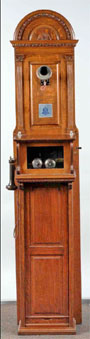 Circa-1892 Western Electric magneto wall cabinet set, est. $7,000-$10,000. Morphy Auctions image.