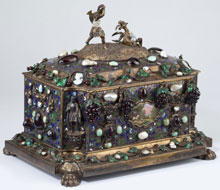 Important French Parcel Gilt & Gem Set Jewel Casket, Sold $69,000