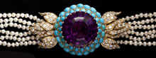 Amethyst, Turquoise, Diamond, and Pearl Choker, Sold $6,900