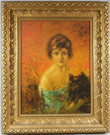 One of two original oil paintings by Louis Icart to be auctioned. William H. Bunch Auctions image.