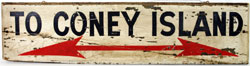 Original Coney Island subway platform sign, 48 by 12 inches, painted wood. Est. $500-$1,000. Nest Egg Auctions image.