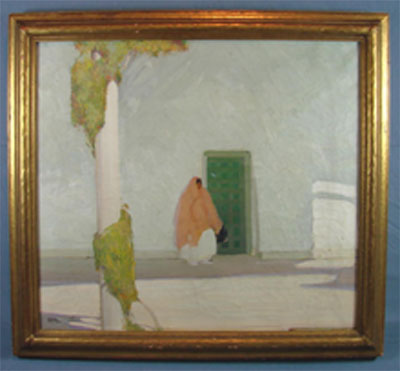 Victor Higgins (Taos school, 1884-1949), oil on canvas, circa 1929, 27 x 30 in., scene of woman in front of adobe building, held in same family for 80+ years. Est. $200,000-$400,000. Mapes Auctioneers image.