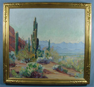 Carl Hoerman (Taos school, 1885-1955), Arizona Desert, oil on canvas, 24 x 26 in., signed and dated '1929.' Est. $1,000-$2,000. Mapes Auctioneers image.