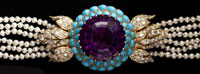 Amethyst, Turquoise, Diamond, and Pearl Vintage Choker Necklace, consisting of one round amethyst weighing approximately 44 carats (est. $4,500-$6,500)