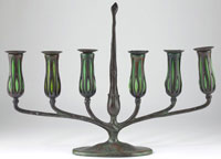 Tiffany Blown Glass and Bronze Candelabrum, signed Tiffany Studios New York 10088 with Tiffany Studios Monogram (est. $4,000-$8,000)