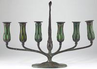 Tiffany Blown Glass and Bronze Candelabrum, signed Tiffany Studios New York 10088 with Tiffany Studios Monogram (est. $4,000-$8,000)