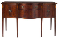 Southern Federal Inlaid Serpentine Sideboard, circa 1800, eastern North Carolina (est. $10,000-$15,000)