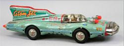 Yonezawa tin 'Atom Jet' racer, 26½ inches. Est. $6,000-$8,000. Bertoia Auctions image.