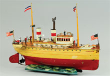 Marklin 'Puritan' ocean liner, handpainted, 20¼ inches, est. $25,000-$30,000. Bertoia Auctions image.
