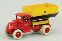 Circa-1932 Arcade cast-iron Mack side-dump truck, ex Larry Seiber collection, 9 inches, est. $8,000-$10,000. Bertoia Auctions image.