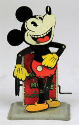 Circa-1930 lithographed tinplate Mickey Mouse 'Slate Dancer,' 6 inches, est. $6,000-$8,000. Bertoia Auctions image.