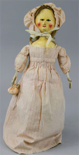 English wooden doll, late Queen Anne or early Georgian period, 21 inches, est. $4,500-$6,500. Bertoia Auctions image.
