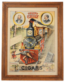 Scarce circa-1885 full-color stone-lithographed paper advertising sign for Grand Chief Cigars, 28in. by 22in., est. $2,500-$3,500. Noel Barrett Auctions image.