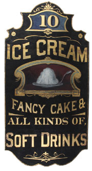 Painted tin on wood ice cream shop sign that advertises confections and beverages, 5ft. tall, est. $8,000-$12,000. Noel Barrett Auctions image.
