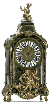 "Circa-1710 French boulle clock, signed ""JB Baillon Paris,"" one of the earliest of its type and one of three antique boulle clocks in the auction. From a Beverly Hills private collection. Don Presley Auction image."