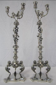 Pair of marked 18th-century Jean Baptiste Francois candelabra having a total weight of 250 ozt. From a Beverly Hills private collection. Don Presley Auction image.