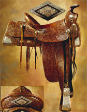 John Wayne's personal silver-trimmed saddle, initials 'JW,' with matching bridle and breast collar, extensive provenance. Don Presley Auction image.