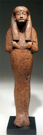 Egyptian New Kingdom wood shabti, wood, late 18th dynasty (circa 1300 B.C.), relatively early and rare, especially in this quality. Estimate $12,000-$15,000