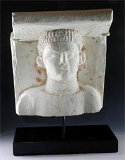 Romano Egyptian relief-carved limestone head, Egypt, circa 1st century B.C./A.D. Estimate $6,000-$9,000.