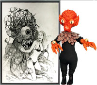 An example of original artwork from the Bill George collection, featuring scream queens and monsters. Old Town Auctions image.