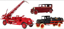 From the Jay Kaufman collection, three of more than 80 pressed-steel trucks and vehicles. Old Town Auctions image.