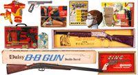 More than 100 cap guns and 100+ BB guns will fire away, including a large selection by Daisy. Old Town Auctions image.