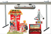 More than 100 Erector sets and factory displays will be auctioned, including the rare Zeppelin set (lower right), robot and amusement park sets. The overhead monorail display has more than 80 feet of track. Old Town Auctions image.