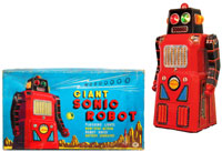 Among the many great toys in the auction, a rare Giant Sonic Robot with its original box. Old Town Auctions image.