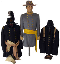 Left to right: Civil War Union Army jacket, Indian Wars officers frock coat, United Confederate Veterans frock coat. Mosby & Co. image.