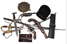 Union and Confederate Civil War weapons, hat, miscellaneous items. Mosby & Co. image.