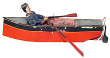 Superior-condition Ives 'Carrie' circa-1870 clockwork rowboat. Mosby & Co. image.