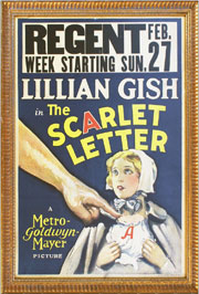 Window card from the silent film 'The Scarlet Letter,' with depiction of its star, Lillian Gish. Mosby & Co. image.