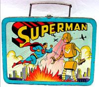 1954 ADCO metal Superman vs. the robot lunchbox. John W. Coker Auctions image.