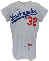 1966 Sandy Koufax Los Angeles Dodgers game-used and autographed flannel road jersey. Grey Flannel Auctions image.