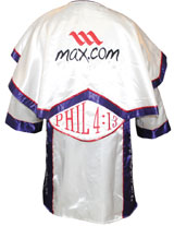 Evander Holyfield fight-worn robe from Jan. 16, 2010 WBF Heavyweight Title bout against Francois Botha. Consigned by Holyfield to benefit his charitable foundation for inner-city youth. Grey Flannel Auctions image.