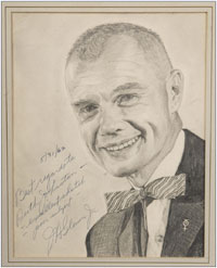 Original pencil drawing of Astronaut John Glenn, one of a set of six drawings of early US astronauts by Ruth E. Johnston, who worked for NASA and in the White House. Five of the drawings are autographed individually by the astronaut subject. Group estimate: $2,000-$4,000. Waverly Auctions image.