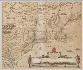 Map of Virginia and Delmarva Peninsula, circa 1684-1696, Nicolaum Visscher. Titled in Latin, outline hand-coloring, additional coloring of engraved decorations. Estimate $4,000-$6,000. Waverly Auctions image.