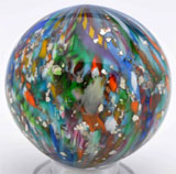 Onionskin Peacock lutz marble with mica, 2¼ inches in diameter, ex Paul Baumann collection, est. $10,000-$20,000. Morphy Auctions image.