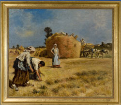Leon Augustin L'hermitte (French, 1844-1925), oil-on-canvas harvest scene, 32 by 38 inches, est. $100,000-$150,000. Quinn's Auction Galleries image.